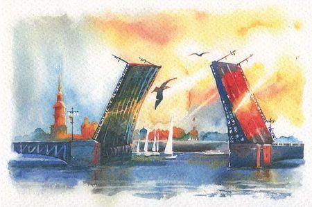 Открытка 10*15 акварель Дворцовый мост день О/001/020
