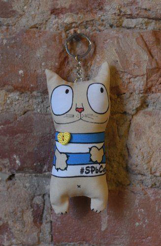Сувенир, Брелок My cat морячок с сердцем, 16см