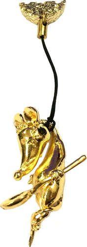 """Магнит-фигуркаметалл""""Мышь на веревке с ложкой""""цв.золото, 006-010-GBI-74-33L"""