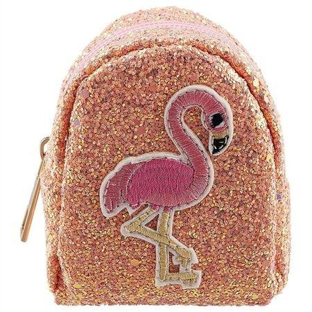 Сумочка-рюкзачок на молнии с блестками Фламинго (10см) (ПВХ бокс)
