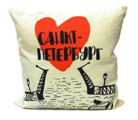 Подушка СПб Мосты и сердце (черно-белая) (43х43) (текстиль) (12-11403-XCT-22)