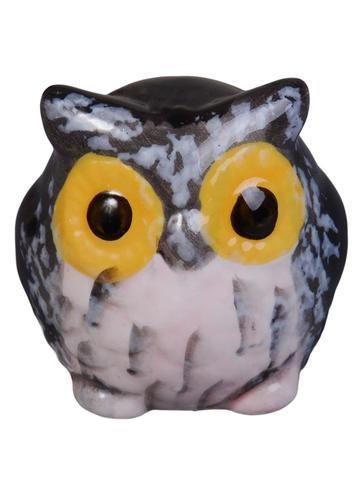 Фигурка Сова серая с желтыми глазами (керамика) (4,5см)