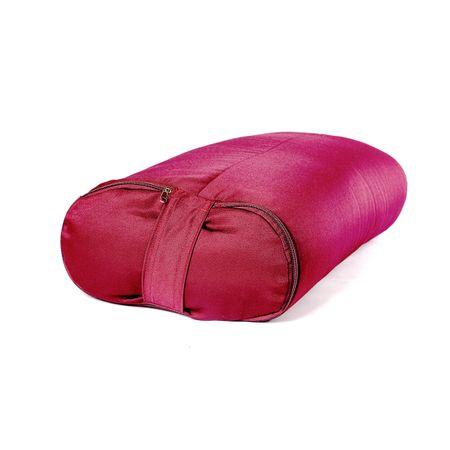 Болстер для йоги прямоугольный из гречихи 60 см (6.7 кг, 60 см, бордовый)