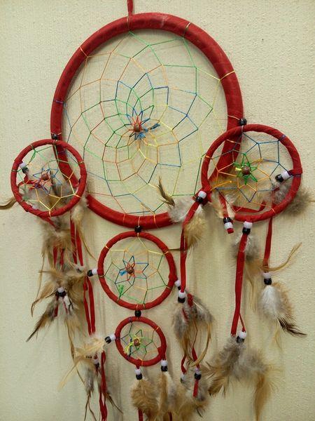 Ловец снов классика пять колец с цветным плетением 26см (0,1 кг, 22 см, 60 см)
